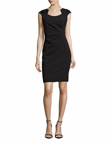 Calvin Klein Ruched Horseshoe Neck Sheath-BLACK-2