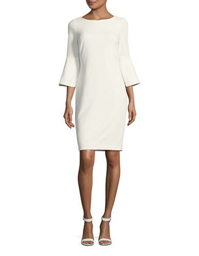 Calvin Klein Trumpet Sleeve Sheath Dress-WHITE-12