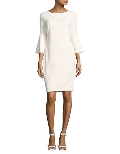 Calvin Klein Bell-Sleeve Sheath Dress-WHITE-12