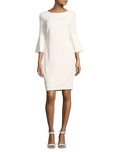 Calvin Klein Bell-Sleeve Sheath Dress-WHITE-6
