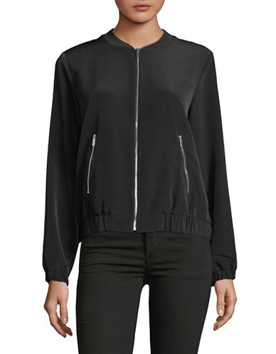Calvin Klein Full-Zip Bomber Jacket-BLACK-X-Small