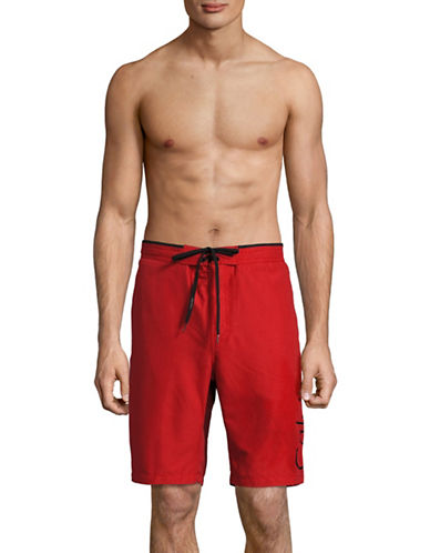 Calvin Klein Classic E-board Solid Boardshorts-RED-Medium
