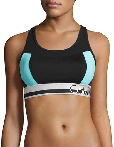 Calvin Klein Performance Medium Support Colourblocked Logo Sports Bra-BLUE RADIANCE COMBO-Large 88987982_BLUE RADIANCE COMBO_Large