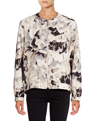 Calvin Klein Floral Crepe Bomber Jacket-BROWN-X-Small 88977291_BROWN_X-Small