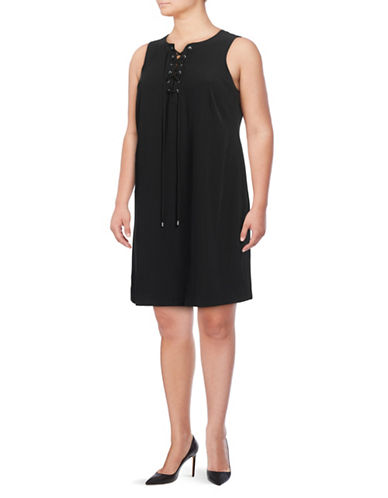 Calvin Klein Plus Lace-Up Sheath Dress-BLACK-18W