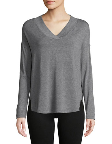 Calvin Klein Performance Ribbed V-Neck Top-GREY-Small 89736224_GREY_Small