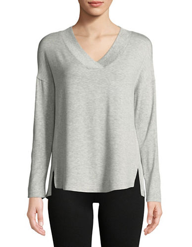 Calvin Klein Performance Ribbed V-Neck Top-SILVER-Large