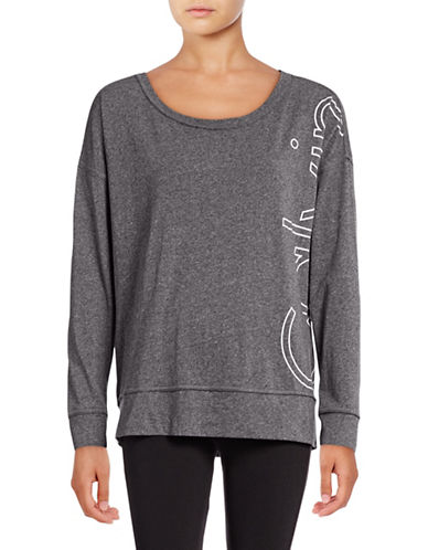 Calvin Klein Performance Long Sleeve Logo T-Shirt-BLACK HEATHER-X-Small 88988006_BLACK HEATHER_X-Small