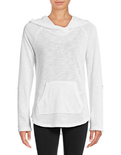 Calvin Klein Performance Slub Knit Roll-Sleeve Hoodie-WHITE-X-Large 88988015_WHITE_X-Large