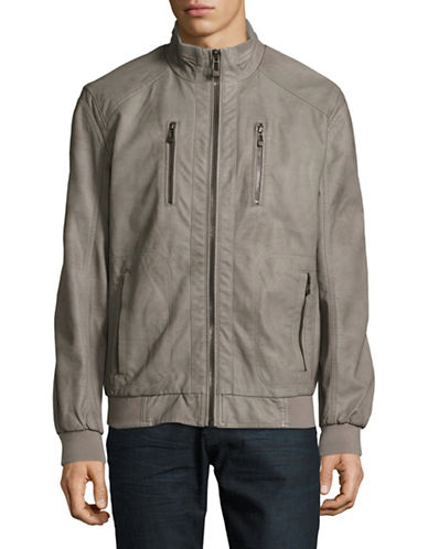 Calvin Klein Perforated Faux Leather Bomber Jacket-GREY-X-Large 88909215_GREY_X-Large