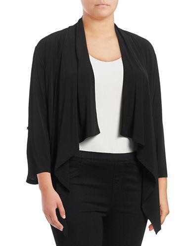 Calvin Klein Plus Roll Sleeve Flyaway Cardigan-BLACK-0X 88928552_BLACK_0X