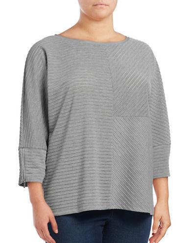 Calvin Klein Plus Raised-Stripe Dolman Top-GREY-0X 88928556_GREY_0X