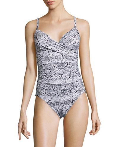 Calvin Klein Snake Print Twist One-Piece Swimsuit-BLACK-12