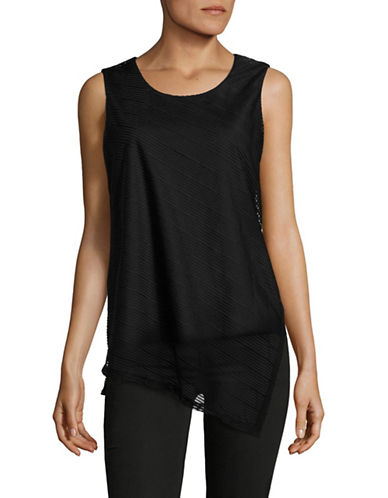 Calvin Klein Sleeveless Sheer Stripe Top-BLACK-Small 88977312_BLACK_Small