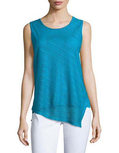 Calvin Klein Sleeveless Sheer Stripe Top-BLUE-X-Large 88977318_BLUE_X-Large