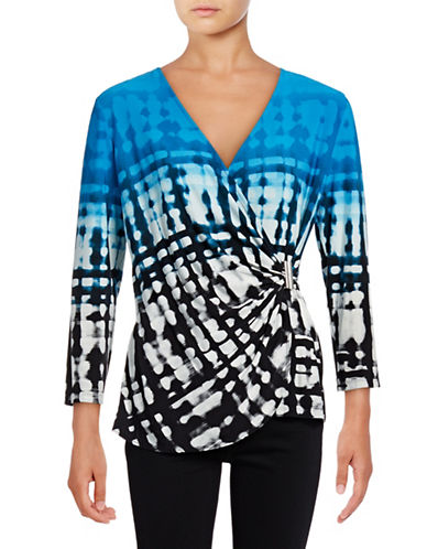 Calvin Klein Printed Wrap Top-BLUE-X-Small 88977379_BLUE_X-Small