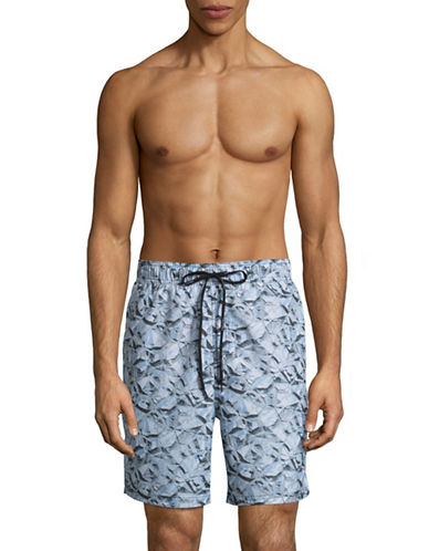 Calvin Klein Foiled Pyra Print Boardshorts-BLUE-Medium