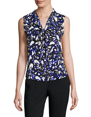 Calvin Klein Sleeveless Printed Neck-Tie Blouse-ATLANTIS/MULTI-Large 88851379_ATLANTIS/MULTI_Large