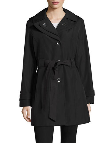 Calvin Klein Belted Double-Lapel Trench Coat-BLACK-Small 88913635_BLACK_Small