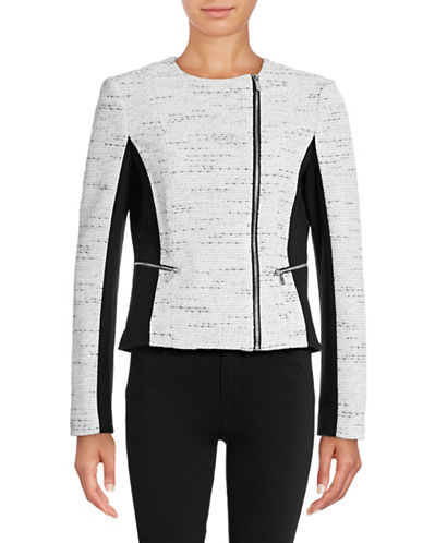 Calvin Klein Tweed and Ponte Moto-Zip Jacket-WHITE-14