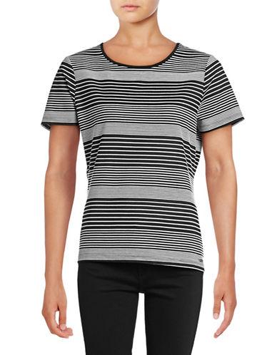 Calvin Klein Knit Striped T-Shirt-BLACK/CREAM-Large