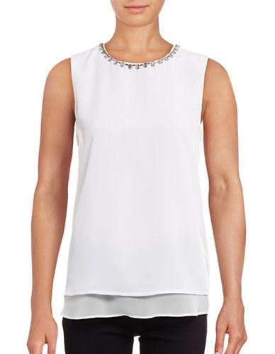 Calvin Klein Jewel Neck Layered Shell Top-WHITE-X-Small 88842839_WHITE_X-Small