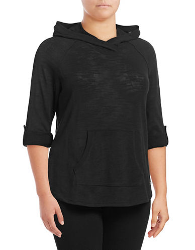 Calvin Klein Performance Plus Slub Knit Roll-Sleeve Hoodie-BLACK-2X 88997786_BLACK_2X