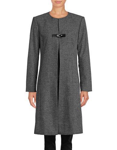 Calvin Klein Long Buckle-Front Jacket-BLACK/CREAM-10
