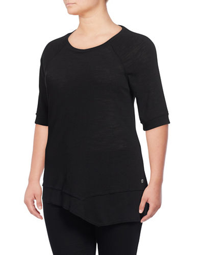 Calvin Klein Performance Plus Quick-Dry Asymmetrical Slub Tunic-BLACK-2X 88937147_BLACK_2X
