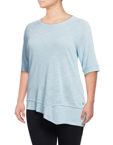 Calvin Klein Performance Plus Quick-Dry Asymmetrical Slub Tunic-BLUE-1X 88937152_BLUE_1X