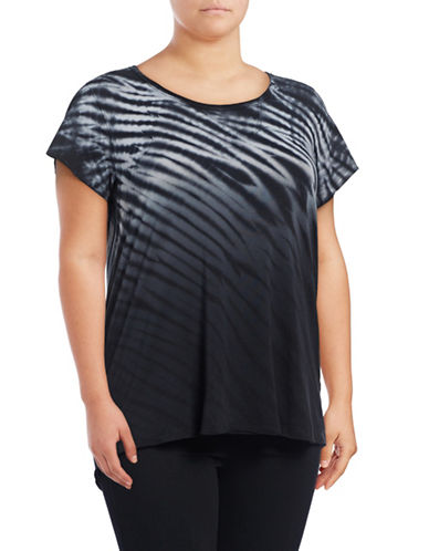 Calvin Klein Performance Plus Tie-Dye Stripe T-Shirt-GREY-3X 88997781_GREY_3X