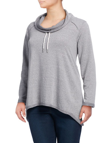 Calvin Klein Performance Plus Cowl Neck Top-GREY-2X 88937162_GREY_2X