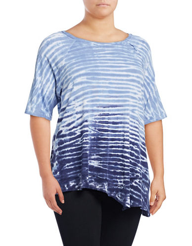 Calvin Klein Performance Plus Tie-Dye Stripe T-Shirt-BLUE-1X 88997800_BLUE_1X