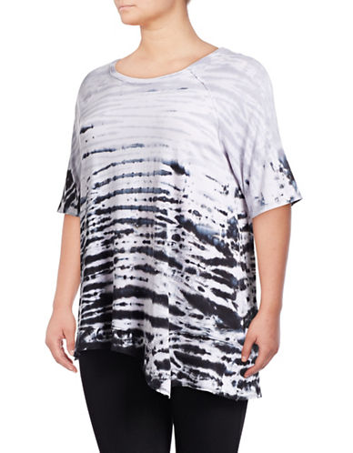 Calvin Klein Performance Plus Tie-Dye Stripe T-Shirt-BLACK-1X 88997794_BLACK_1X