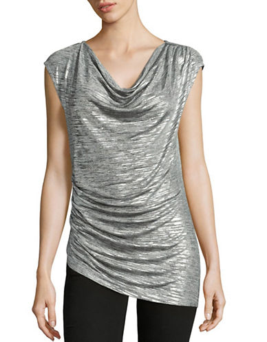 Calvin Klein Metallic Gathered Top-GREY-Medium 88842856_GREY_Medium