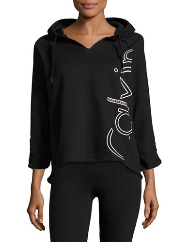 Calvin Klein Performance Hi-Lo Cotton-Blend Hoodie-BLACK-Large 88822706_BLACK_Large