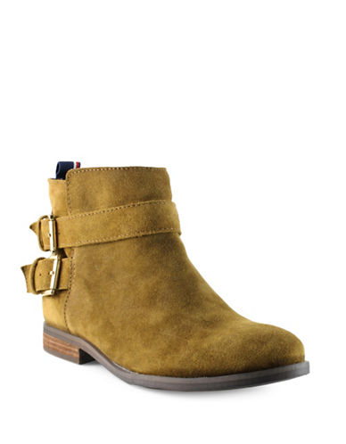 Tommy Hilfiger Julie Double-Buckle Ankle Booties-BROWN-9.5