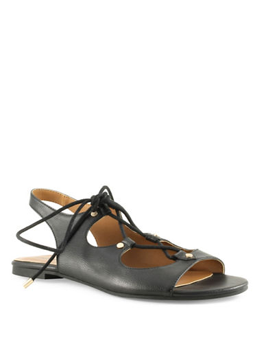 Indigo Rd Gadiva2 Faux Leather Slingback Sandals-BLACK-7.5