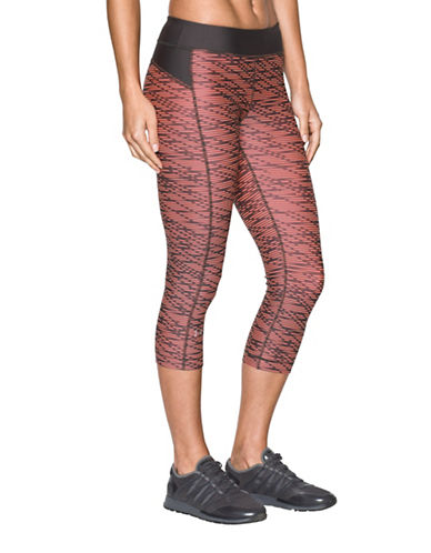 Under Armour HeatGear Printed Capris-LONDON ORANGE-X-Small