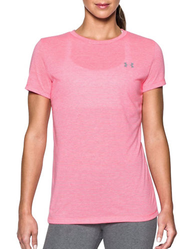 Under Armour Threadborne Train Striped T-Shirt-PINK-X-Small 89273467_PINK_X-Small