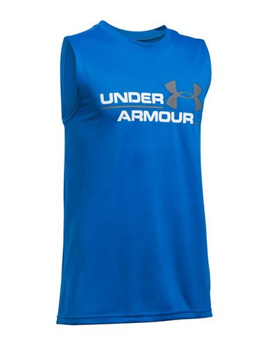 Under Armour Double Header Tee-BLUE-Small