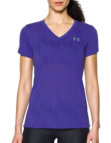 Under Armour Threadborne Train Jacquard V-Neck T-Shirt-PURPLE-Medium