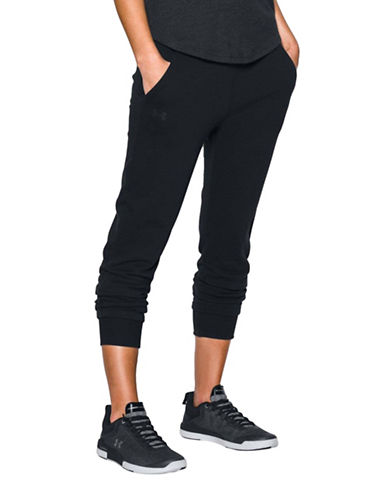 Under Armour Threadborne Fleece Crop Pants-BLACK-Medium