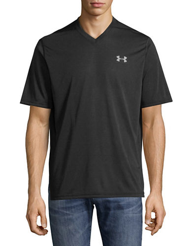 Under Armour Threadborne V-Neck T-Shirt-BLACK-Large