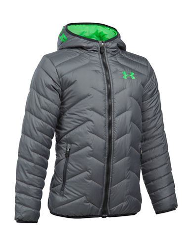 Under Armour ColdGear Reactor Quilted Hooded Jacket-GREY-Medium