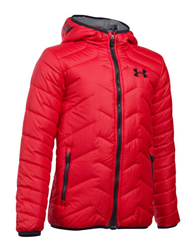 Under Armour ColdGear Reactor Quilted Hooded Jacket-RED-Large