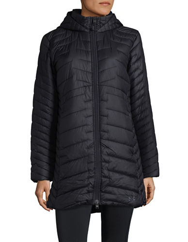 Under Armour Hooded Logo Quilted Parka-BLACK-X-Small