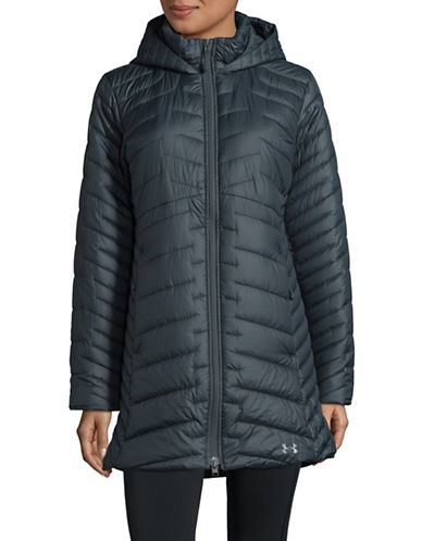 Under Armour Hooded Logo Quilted Parka-GREY-Medium