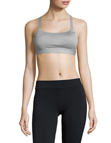 Under Armour Heathered Sports Bra-GREY-Medium
