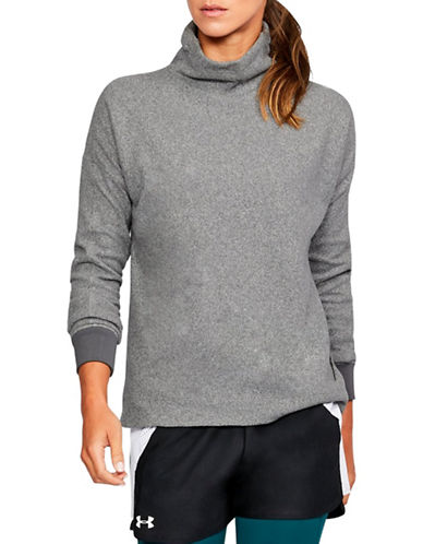 Under Armour Funnel Neck Fleece Sweater-GREY-Large